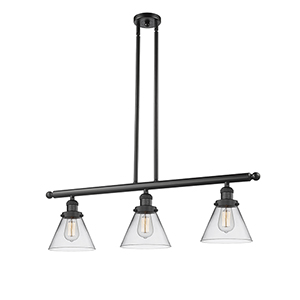 Large Cone Black 36-Inch Three-Light LED Island Pendant with Clear Cone Glass