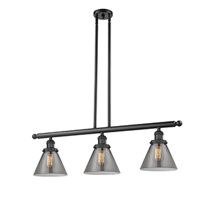 Large Cone Black 36-Inch Three-Light LED Island Pendant with Smoked Cone Glass
