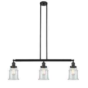Canton Matte Black Three-Light Island Pendant with Clear Glass