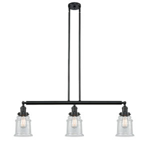 Canton Matte Black Three-Light Island Pendant with Seedy Glass