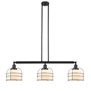 Large Bell Cage Matte Black Three-Light LED Island Pendant with Matte White Cased Glass