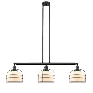 Large Bell Cage Matte Black Three-Light Island Pendant with Matte White Cased Glass