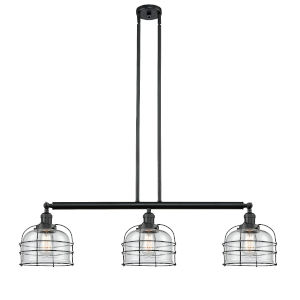 Large Bell Cage Matte Black Three-Light LED Island Pendant with Clear Glass