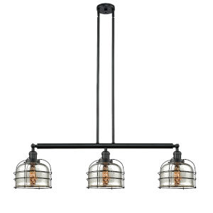 Large Bell Cage Matte Black Three-Light LED Island Pendant with Silver Plated Mercury Glass