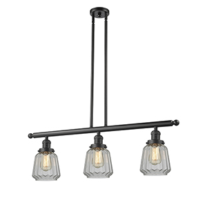 Chatham Oiled Rubbed Bronze Three-Light Island Pendant with Clear Fluted Novelty Glass