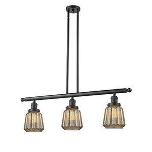 Chatham Oiled Rubbed Bronze Three-Light Island Pendant with Mercury Fluted Novelty Glass