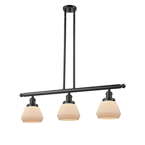 Fulton Oiled Rubbed Bronze Three-Light LED Island Pendant with Matte White Cased Sphere Glass