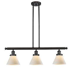 Large Cone Oiled Rubbed Bronze Three-Light LED Island Pendant with Matte White Cased Cone Glass