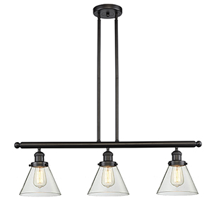 Large Cone Oiled Rubbed Bronze Three-Light LED Island Pendant with Clear Cone Glass
