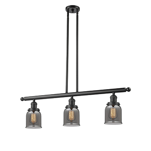 Small Bell Oiled Rubbed Bronze Three-Light LED Island Pendant with Smoked Bell Glass