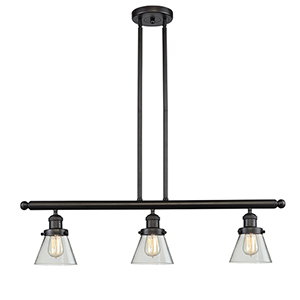 Small Cone Oiled Rubbed Bronze Three-Light LED Island Pendant with Clear Cone Glass