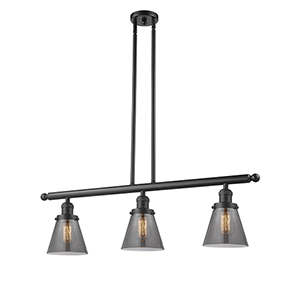 Small Cone Oiled Rubbed Bronze Three-Light LED Island Pendant with Smoked Cone Glass