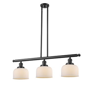 Large Bell Oiled Rubbed Bronze Three-Light LED Island Pendant with Matte White Cased Dome Glass