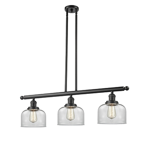 Large Bell Oiled Rubbed Bronze Three-Light LED Island Pendant with Clear Dome Glass