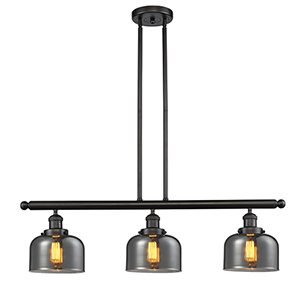 Large Bell Oiled Rubbed Bronze Three-Light LED Island Pendant with Smoked Dome Glass