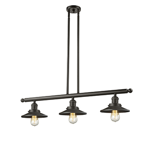 Railroad Oiled Rubbed Bronze Three-Light LED Island Pendant