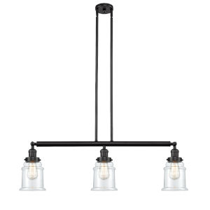 Canton Oil Rubbed Bronze Three-Light Island Pendant with Clear Glass