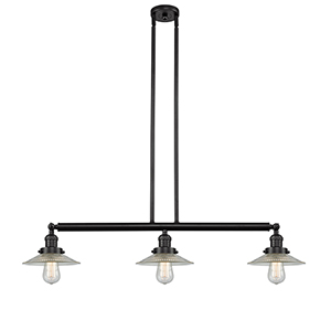 Halophane Oiled Rubbed Bronze Three-Light Island Pendant with Halophane Cone Glass
