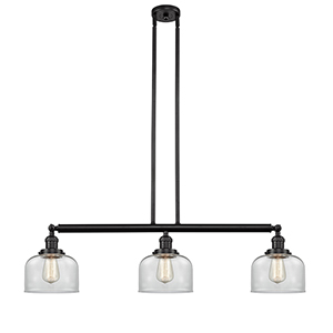 Large Bell Oiled Rubbed Bronze Three-Light Island Pendant with Clear Dome Glass