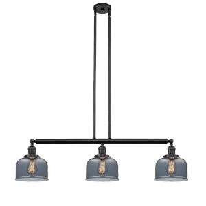 Large Bell Oil Rubbed Bronze Three-Light Island Pendant with Smoked Glass
