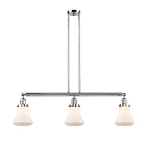 Bellmont Polished Chrome Three-Light LED Adjustable Island Pendant with Matte White Glass