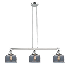 Large Bell Polished Chrome Three-Light LED Island Pendant with Smoked Glass