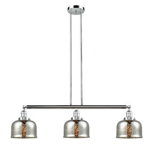 Large Bell Polished Chrome Three-Light Adjustable Island Pendant