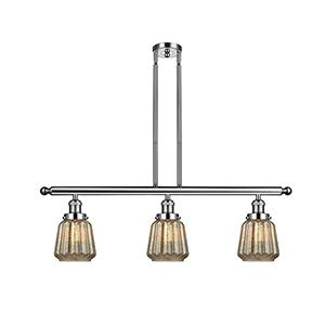 Chatham Polished Nickel Three-Light LED Island Pendant with Mercury Fluted Novelty Glass