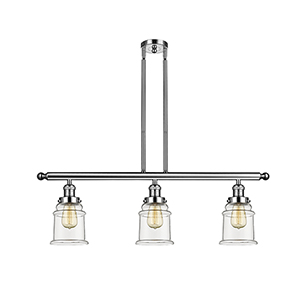 Canton Polished Nickel Three-Light LED Island Pendant with Clear Bell Glass