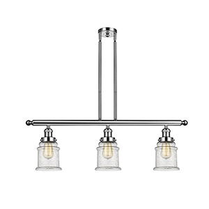 Canton Polished Nickel Three-Light LED Island Pendant with Seedy Bell Glass