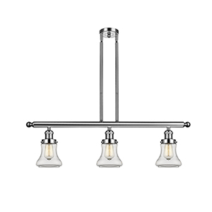 Bellmont Polished Nickel Three-Light Island Pendant with Clear Hourglass Glass