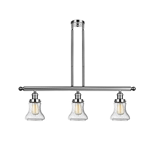 Bellmont Polished Nickel Three-Light Island Pendant with Seedy Hourglass Glass