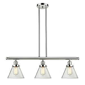 Large Cone Polished Nickel Three-Light Island Pendant with Clear Cone Glass