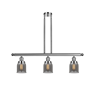 Small Bell Polished Nickel Three-Light LED Island Pendant with Smoked Bell Glass