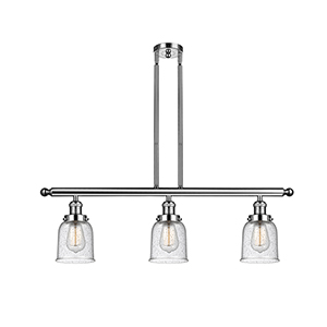 Small Bell Polished Nickel Three-Light LED Island Pendant with Seedy Bell Glass