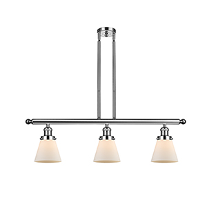 Small Cone Polished Nickel Three-Light LED Island Pendant with Matte White Cased Cone Glass