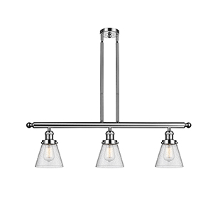 Small Cone Polished Nickel Three-Light LED Island Pendant with Seedy Cone Glass