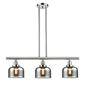 Large Bell Polished Nickel Three-Light LED Island Pendant with Smoked Dome Glass