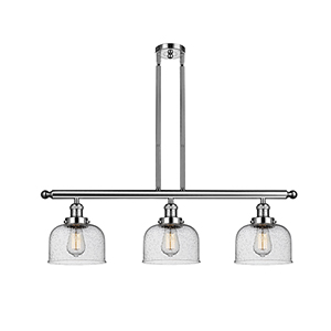 Large Bell Polished Nickel Three-Light LED Island Pendant with Seedy Dome Glass