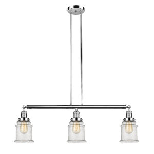 Canton Polished Nickel Three-Light LED Island Pendant with Seedy Glass