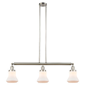 Bellmont Polished Nickel Three-Light Adjustable Island Pendant with Matte White Glass