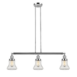 Bellmont Polished Nickel Three-Light Island Pendant with Clear Glass