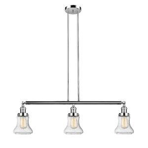Bellmont Polished Nickel Three-Light Adjustable Island Pendant with Seedy Glass