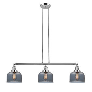 Large Bell Polished Nickel Three-Light LED Island Pendant with Smoked Glass