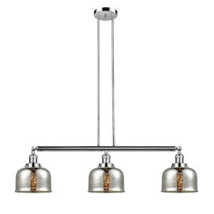 Large Bell Polished Nickel Three-Light Adjustable Island Pendant