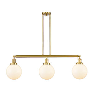 Franklin Restoration Satin Gold 41-Inch Three-Light Island Chandelier with Matte White Glass Shade
