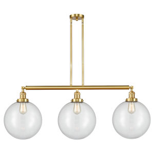 Franklin Restoration Satin Gold 44-Inch Three-Light LED Island Chandelier with Clear Glass Shade