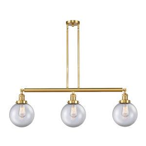 Franklin Restoration Satin Gold 41-Inch Three-Light Island Chandelier with Clear Glass Shade