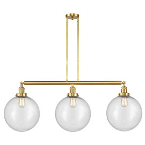 Franklin Restoration Satin Gold 44-Inch Three-Light LED Island Chandelier with Seedy Glass Shade