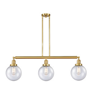Franklin Restoration Satin Gold 41-Inch Three-Light LED Island Chandelier with Seedy Glass Shade